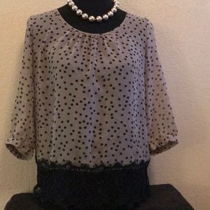 Pre Owned Polkadot Sheer Blouse by Maurices